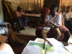 AJESH Land Use Planning Specialist Patrick Epie is engaging forest communities in map-making.