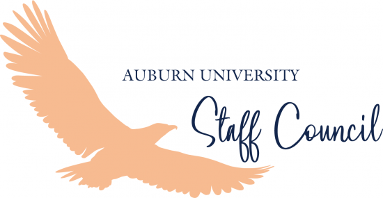 The 2020 Logo of the Auburn University Staff Council with an Orange Eagle and blue lettering.