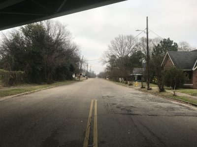A road and neighborhood off of a highway in Montgomery.