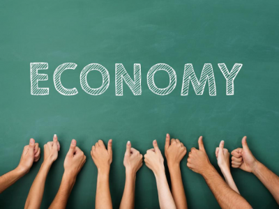 """Thumbs up all together with the word """"economy"""" above all of the thumbs"""