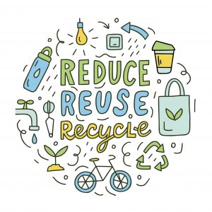 Adobe Stock Image of Reduce, reuse, recycle. Ecology concept. Round composition with hand lettering and doodle elements. Vector doodle illustration for postcards, t-shirts, mugs, bags and others