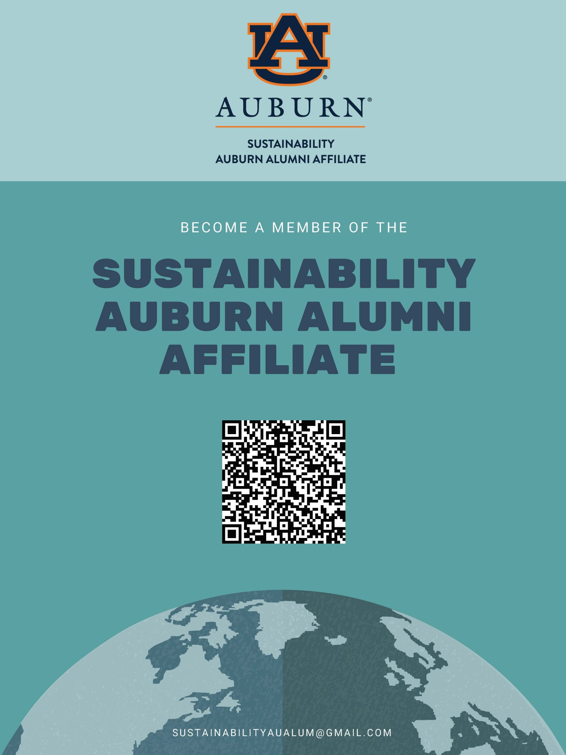 Image with a QR Code to join the Sustainability Auburn Alumni Affiliate